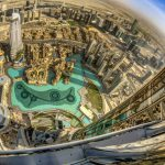 Dubai Downtown district, UAE.  A fish eye lens is used